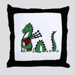 Loch Ness Monster Bagpipes Throw Pillow