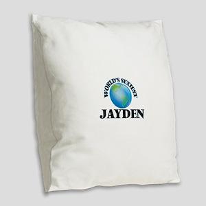 World's Sexiest Jayden Burlap Throw Pillow