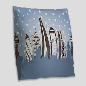 London Snowflakes Burlap Throw Pillow