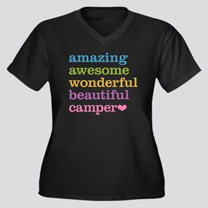 Amazing Camp Women's Plus Size V-Neck Dark T-Shirt