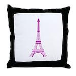 Purple Eiffel Tower Throw Pillow
