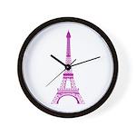 Purple Eiffel Tower Wall Clock