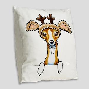 Oh Deer Burlap Throw Pillow