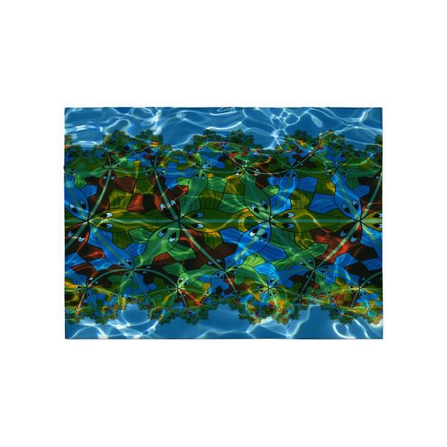 M. C. Escher Fish Under Water 5'x7'area Rug By