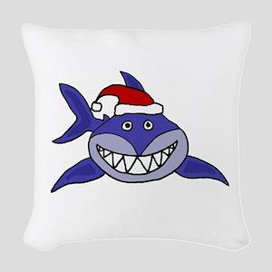 Shark Christmas Cartoon Woven Throw Pillow