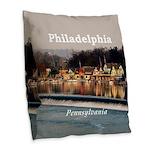 Philadelphia Burlap Throw Pillow