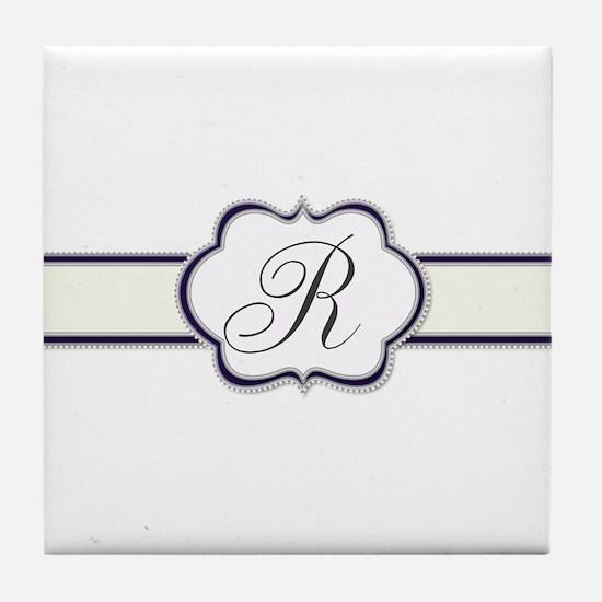 Elegant Monogram by LH Tile Coaster