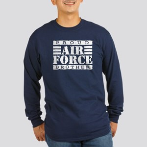 Proud Air Force Brother Long Sleeve Dark T-Shirt