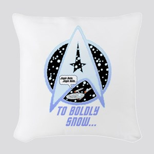 To Boldly Snow Woven Throw Pillow