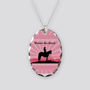 Pink Cowgirl Necklace Oval Charm