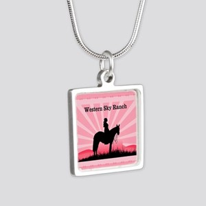 Pink Cowgirl Silver Square Necklace