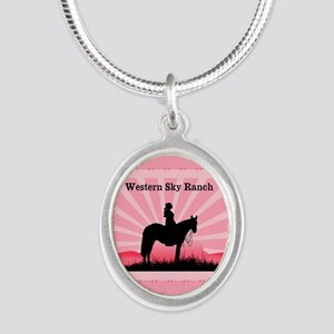 Pink Cowgirl Silver Oval Necklace