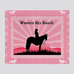 Pink Cowgirl Throw Blanket
