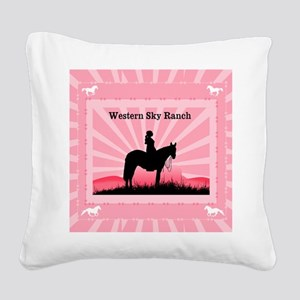 Pink Cowgirl Square Canvas Pillow