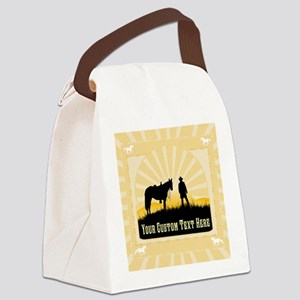 Add Text Cowboy Canvas Lunch Bag
