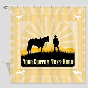 Add Text Cowboy Shower Curtain