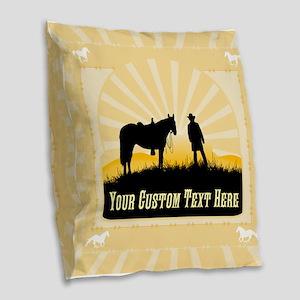 Add Text Cowboy Burlap Throw Pillow