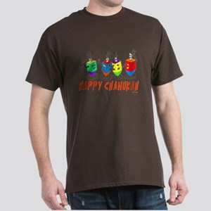 Happy Hanukkah Dancing Dreidels Dark T-Shirt