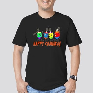 Happy Hanukkah Dancing Men's Fitted T-Shirt (dark)