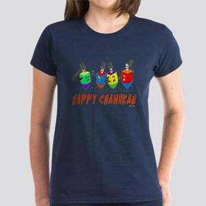 Happy Hanukkah Dancing Dreide Women's Dark T-Shirt