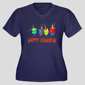 Happy Hanukk Women's Plus Size V-Neck Dark T-Shirt