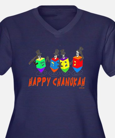 Happy Hanukk Women's Plus Size V-Neck Dark T-Shirt