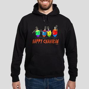 Happy Hanukkah Dancing Dreidels Hoodie (dark)