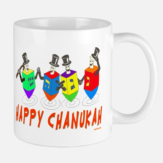 Happy Hanukkah Dancing Dreidels Mug