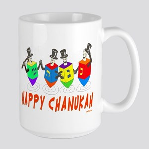 Happy Hanukkah Dancing Dreidels Large Mug