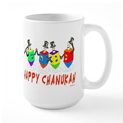 Happy Hanukkah Dancing Dreidels Large Mug