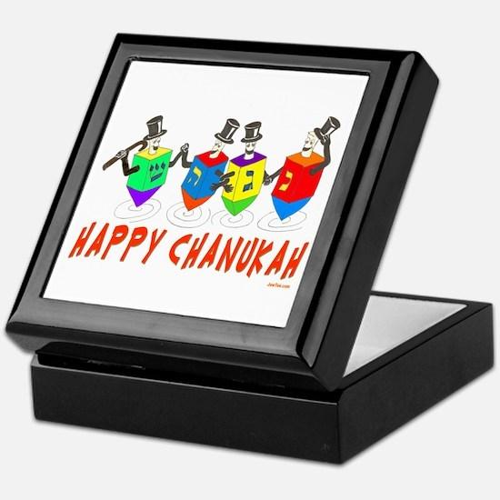 Happy Hanukkah Dancing Dreidels Keepsake Box