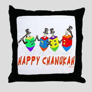 Happy Hanukkah Dancing Dreidels Throw Pillow
