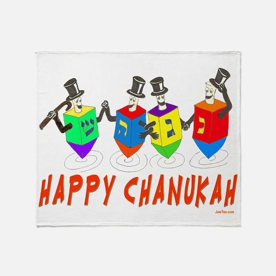 Happy Hanukkah Dancing Dreidels Throw Blanket