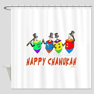 Happy Hanukkah Dancing Dreidels Shower Curtain