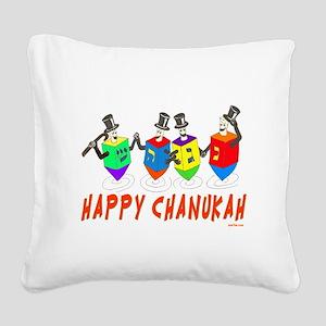 Happy Hanukkah Dancing Dreide Square Canvas Pillow