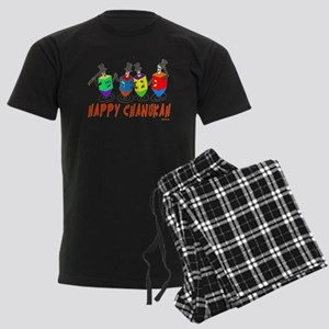 Happy Hanukkah Dancing Dreidel Men's Dark Pajamas