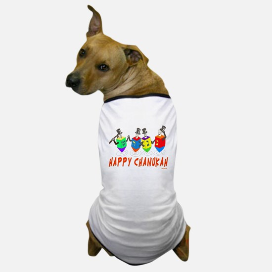 Happy Hanukkah Dancing Dreidels Dog T-Shirt