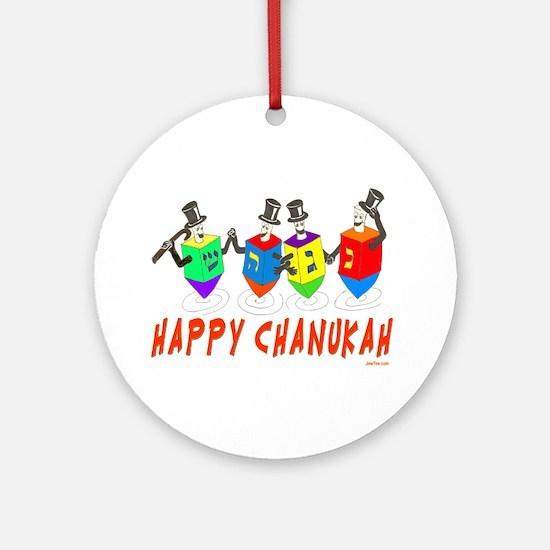Happy Hanukkah Dancing Dreidels Ornament (Round)