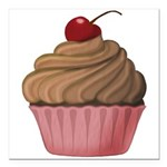 Sweet Pink and Brown Cupcake Square Car Magnet 3