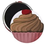 Sweet Pink and Brown Cupcake Magnets