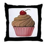 Sweet Pink and Brown Cupcake Throw Pillow