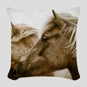 Icelandic Pony Duo Woven Throw Pillow