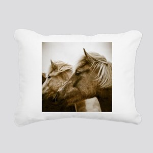 Icelandic Pony Duo Rectangular Canvas Pillow