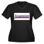 Sexagenarian Women's Plus Size V-Neck Dark T-Shirt