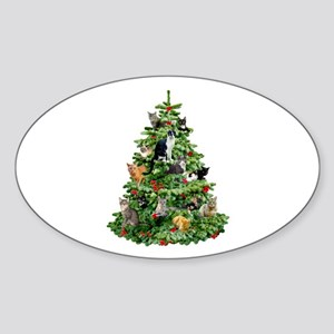 Cats in Tree Sticker (Oval)