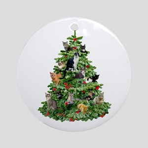 cats in tree ornament round - Cat Christmas Decorations