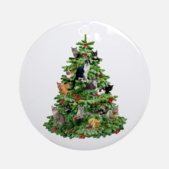 Cats in Tree Ornament (Round)