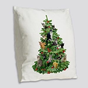 Cats in Tree Burlap Throw Pillow