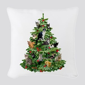 Cats in Tree Woven Throw Pillow