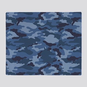 Blue Camo Pattern Throw Blanket